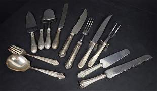 Collection of Sterling Silver Handled Carving Pcs