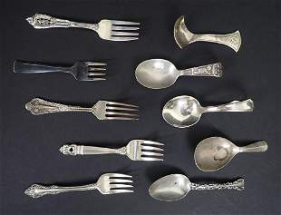 Collection of Sterling Silver Baby Spoons & Forks