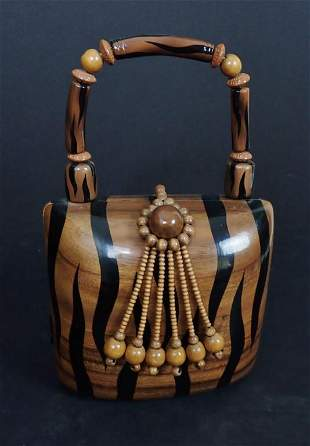 Timmy Woods Tiger Stripe Wood Beaded Bag