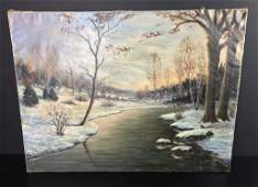 Autumnal / Early Winter Scene, Signed Oil Painting
