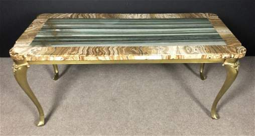 Grand Tour Marble and Onyx Specimen Cocktail Table