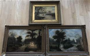Three Framed Landscape Oil Paintings on Board