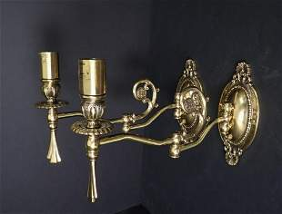 Brass Victorian Swing Arm Wall Sconce Pair