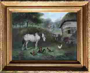 Signed Farm Scene Oil Painting