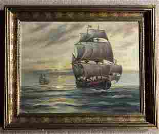 Framed Clipper Ship Oil Painting
