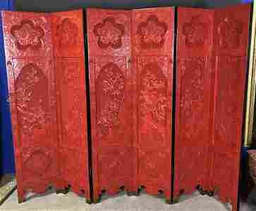 Chinese Cinnabar Lacquer Six Panel Screen