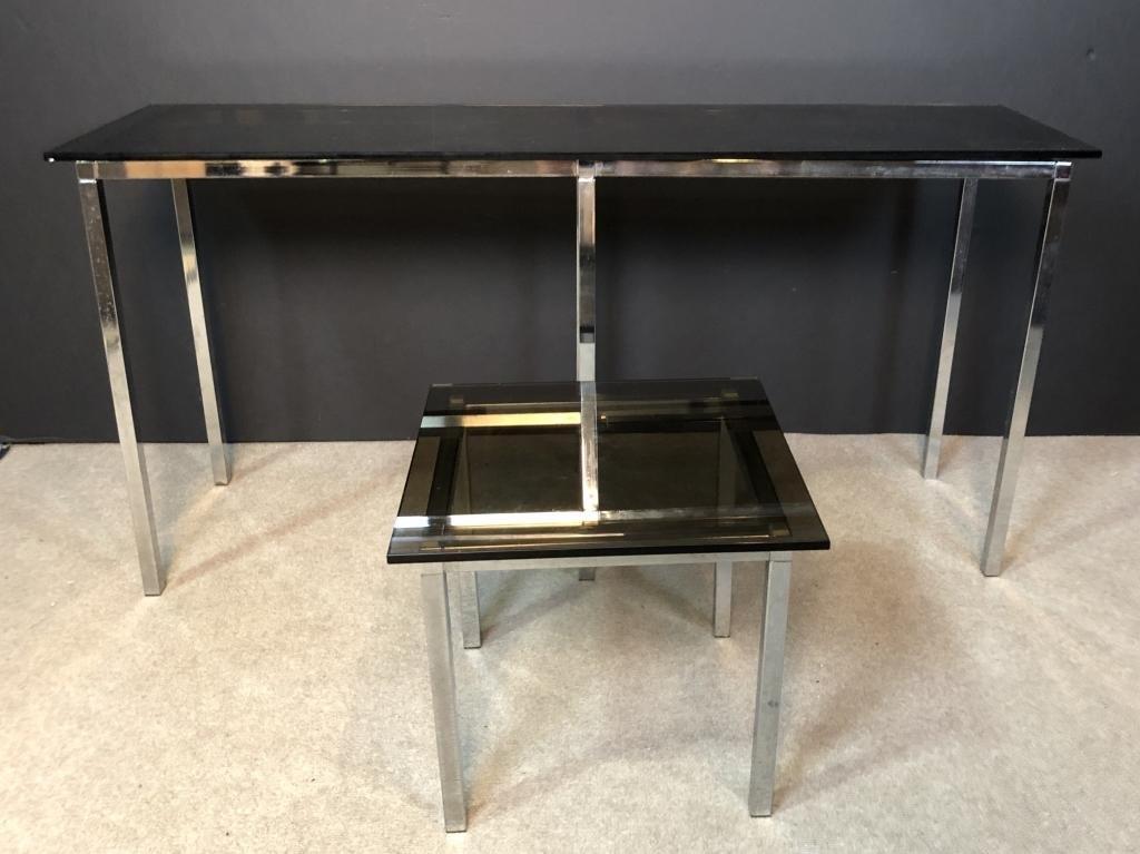 Modern Smoked Glass & Chrome Modular Tables