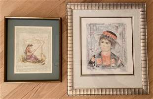 Two Signed Hibel Figural Lithographs