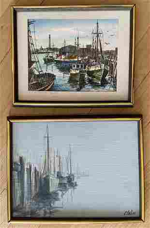 Two Harbour Scene Paintings, Signed Selmi / Brooks