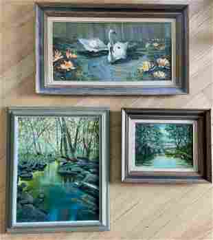 Three Oil Landscape Scenes, Signed Foggy