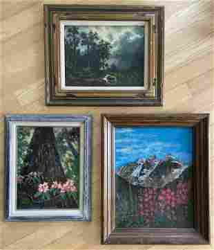 3 Landscape Oil Paintings, Signed Foggy