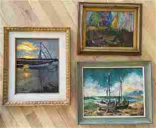 Three Harbor Scene Oil Paintings, Signed Foggy