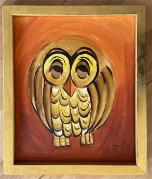 John Good (born 1930) W/C Modern Owl Painting