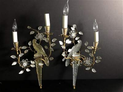Pair French Maison Bagues Crystal Parrot Sconces