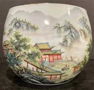 Chinese Artist Signed Porcelain Planter