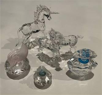 Lot of 5 Swarovski Perfumes, Horses and Unicorn