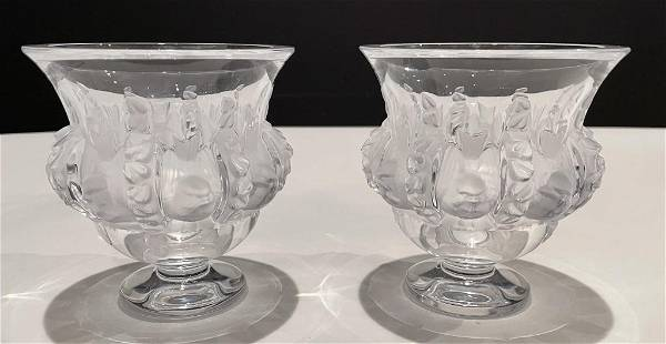 Pair of Lalique Dampierre Vases