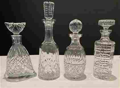 Collection of 4 Cut Crystal Decanters