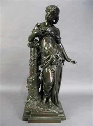 233: A. Moreau (1834-1917), Woman leaning on pedestal