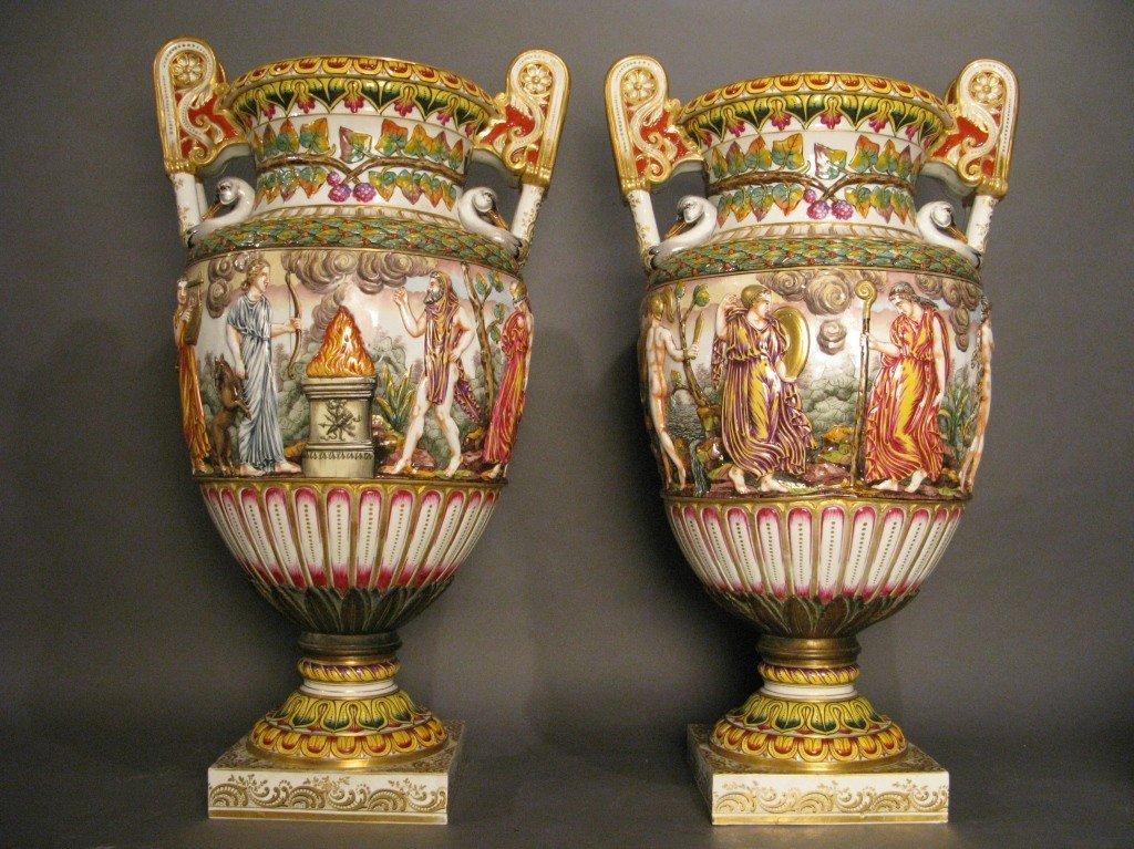 247: Pair of large Capodimonte urns, 19th C