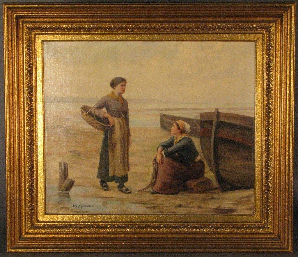 386: P. Fragiacomo (1856-1922), Women on shore, Italian