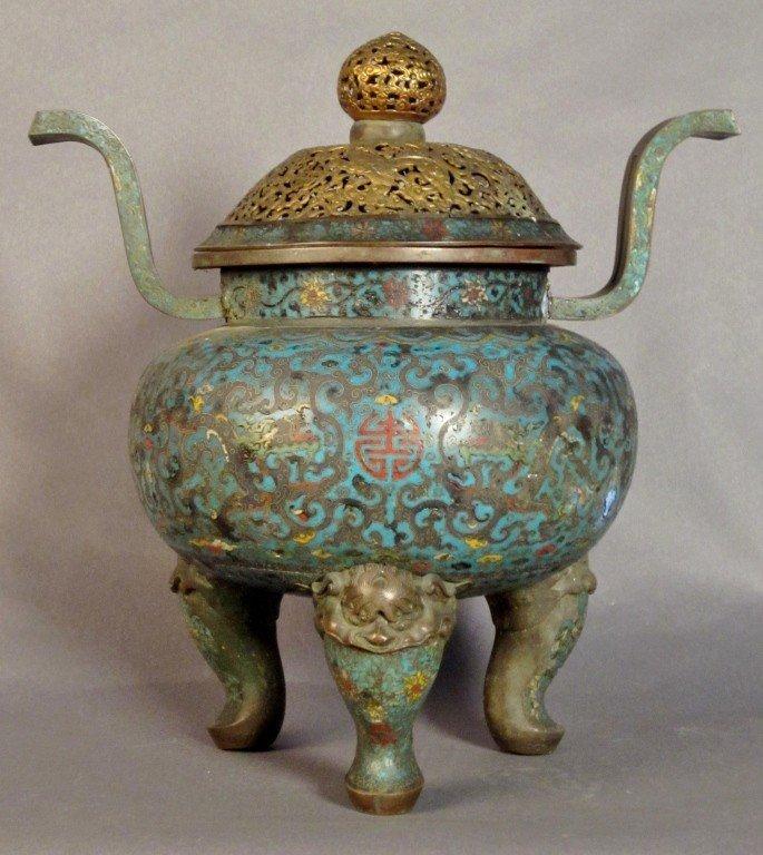 480: Qianlong period censer & kirin lid, 18th C