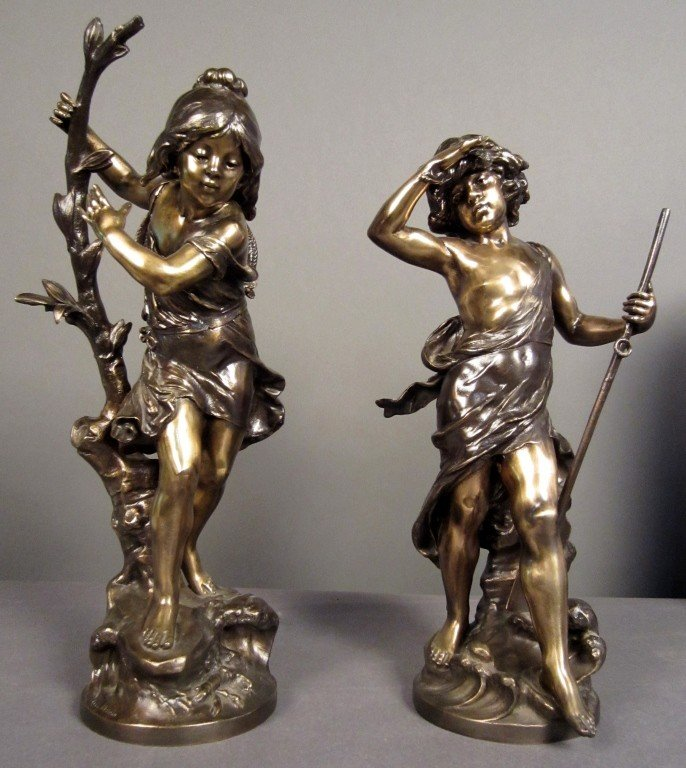 7: A. Moreau (1834-1917) French, Pair of Sculptures