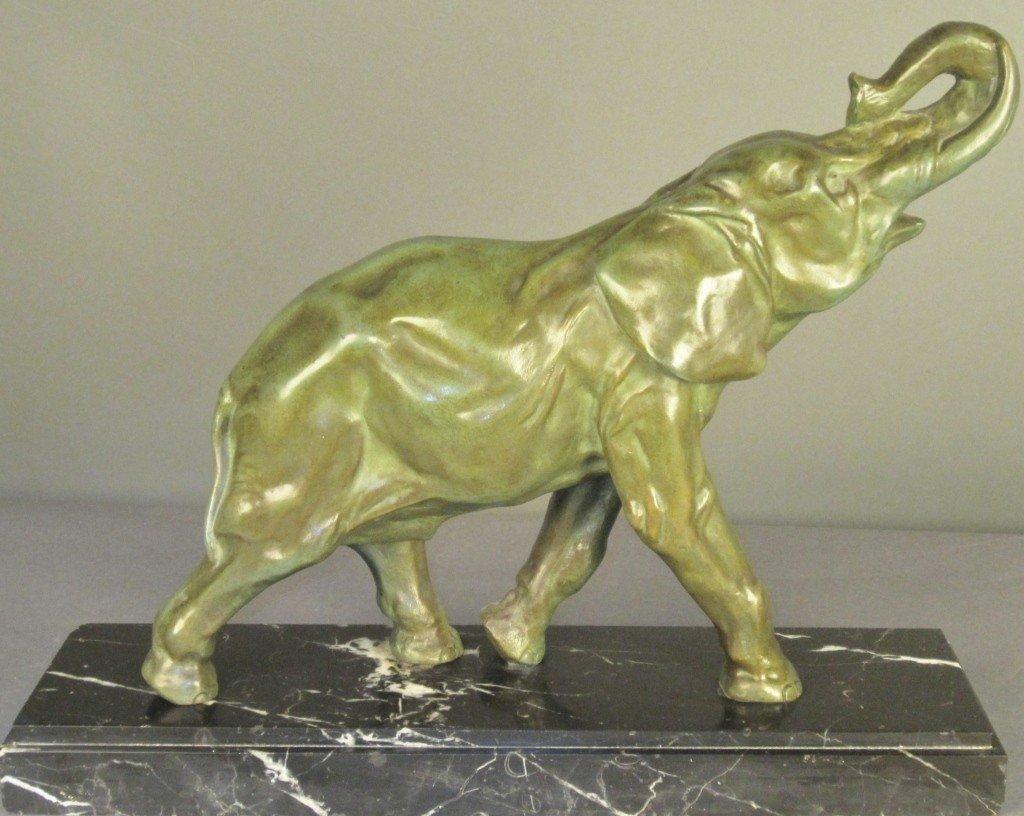 12: Deslin, Art Deco Patinated Bronze Elephant