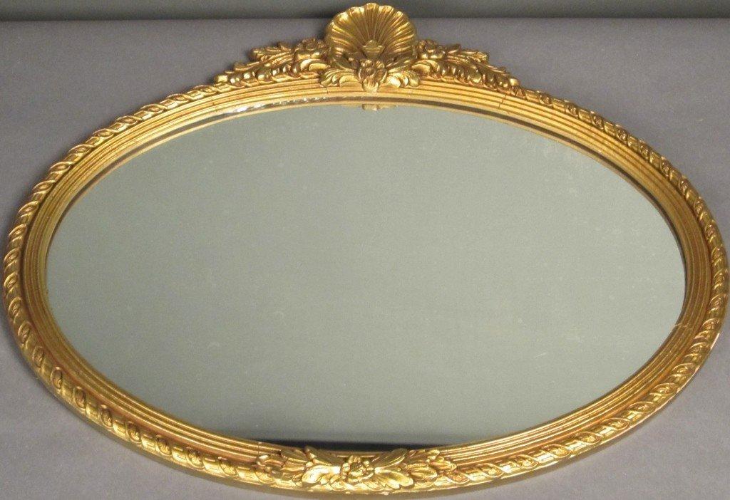 17: Oval Gilt Mirror, circa 1920