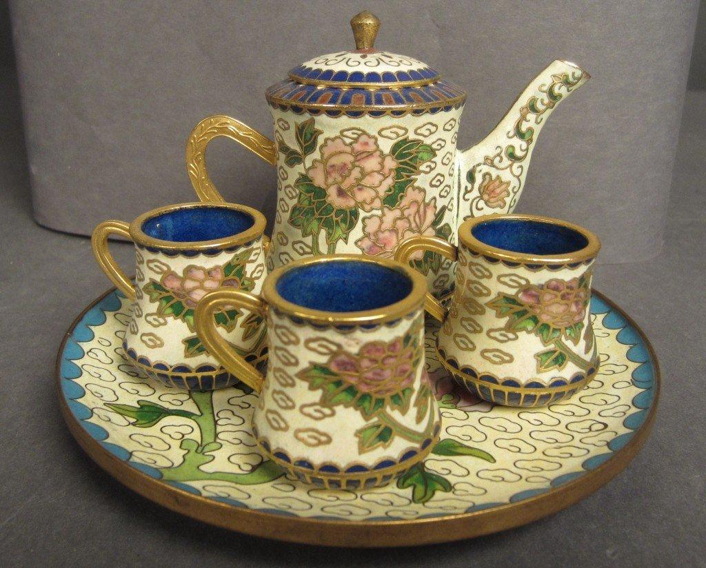 21: Miniature Cloisonné tea set