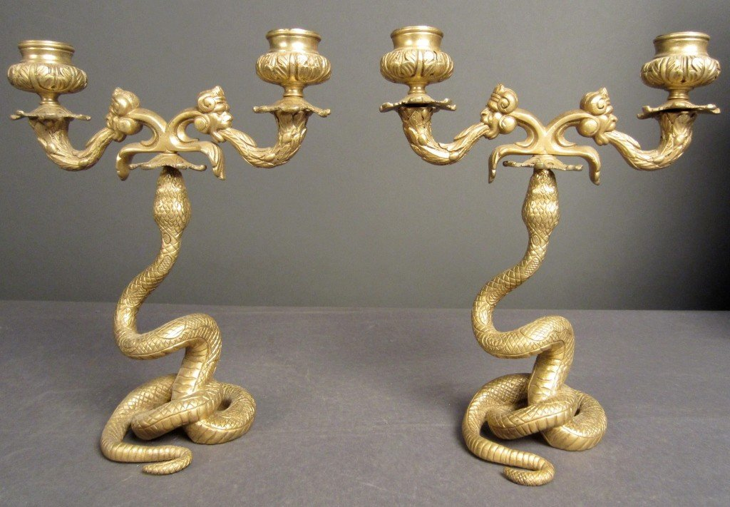 23: Pair of dore bronze candelabras, French, 19th C