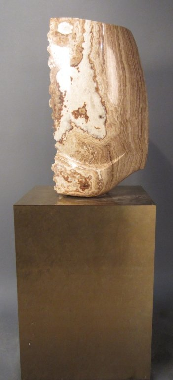 9: Brown & White Modern Marble Sculpture on Pedestal