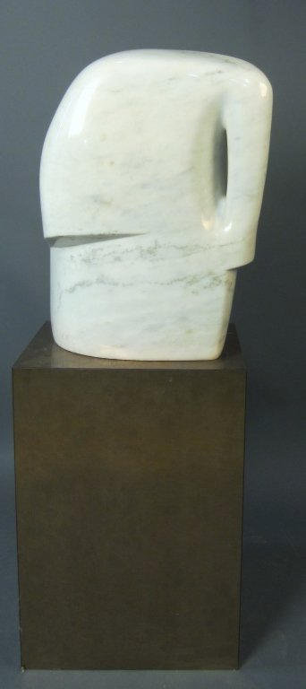 10: Modern White Marble Sculpture on Pedestal