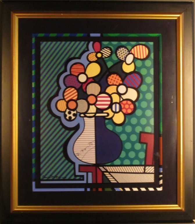 "13: Romero Britto ""Flowers in Vase"" Signed Print"