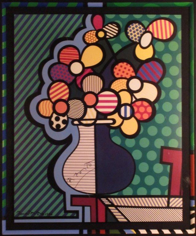 "13: Romero Britto ""Flowers in Vase"" Signed Print - 2"