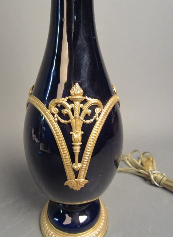 40: Cobalt Blue Vase as Lamp with Dore Mountings - 2