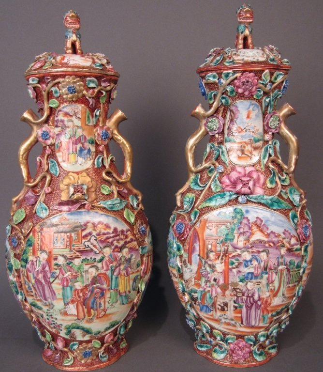 250: Pair Chinese Covered Vases, Quianlong, circa 1750