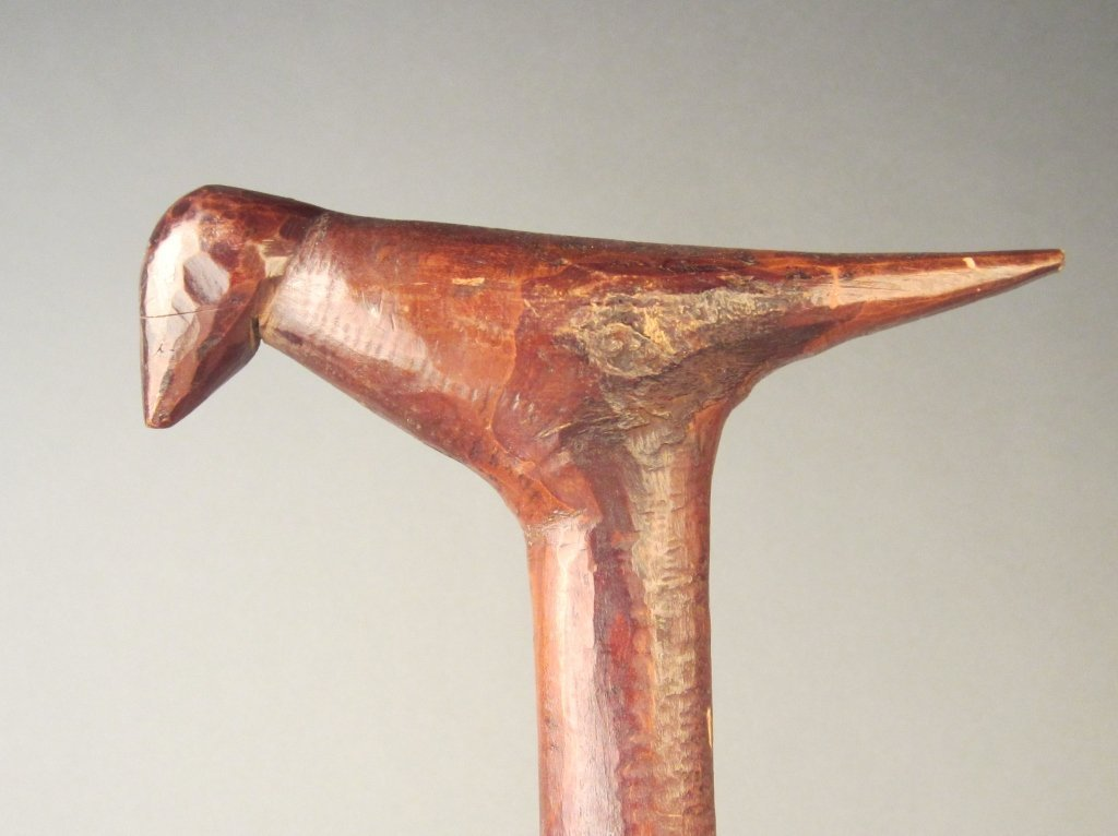 Antique Walking Stick with Carved Bird Handle