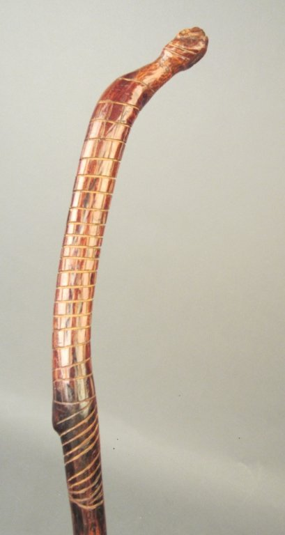 Antique Twisted Walking Stick in Form of Snake - 3