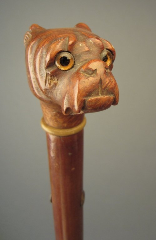 Antique Walking Stick with Bulldog Head as Handle