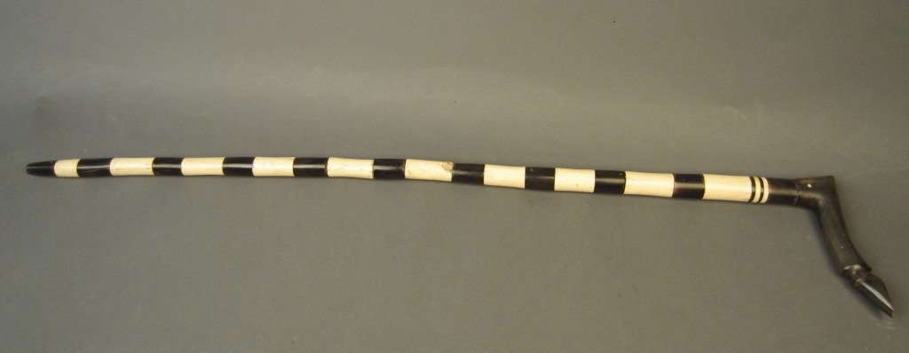 Antique Bone & Horn Walking Stick with Hoof Handle - 4