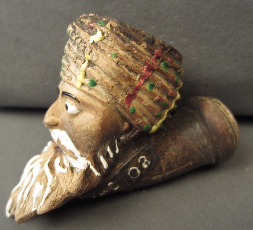 JACOB Clay Pipe, Molded as a Bearded Man in Turban