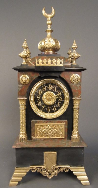 Orientalist Marble and Dore Bronze Clock, 19th C