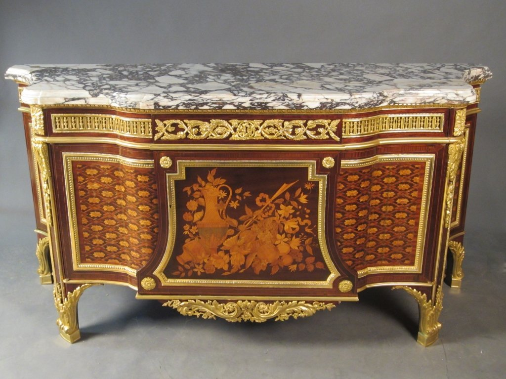 197: Marble Top Marquetry Commode, French 19th C