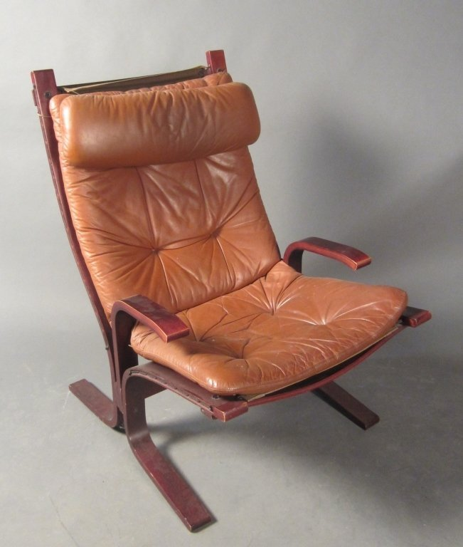 Modern Brown Leather & Bent Wood Chair