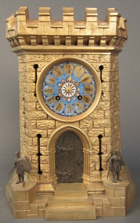 Dore Bronze Castle Form Clock, 19th C