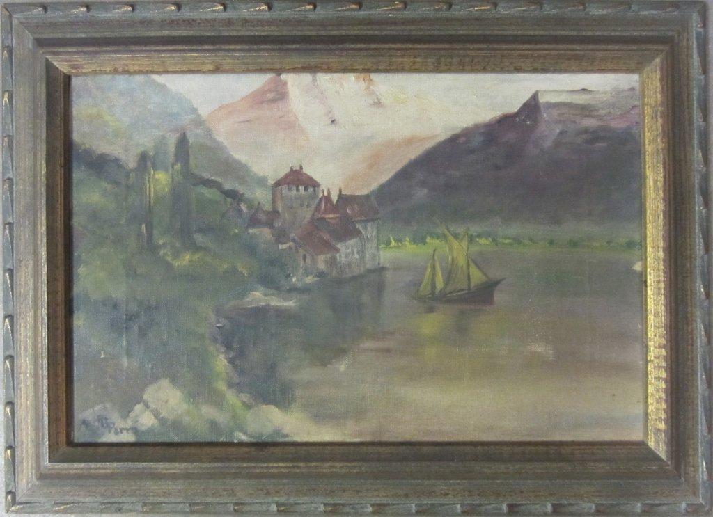 1: Signed Lake Scene w/ Sail Boat