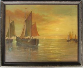 Signed Sailboat Painting