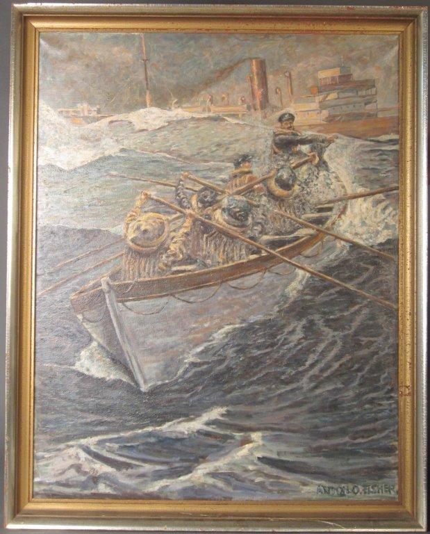 23: Attrib to: Anton Otto Fischer Sinking Ship Painting