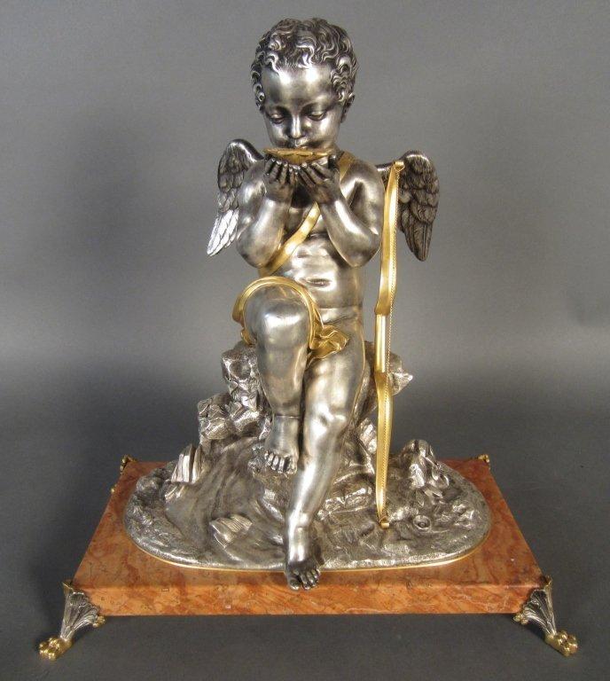 369: Dore & Silver over Bronze Sculpture, French 19th C